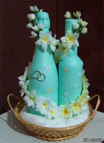 """Декор предметов, Печать губкой, : Свадебные  """"Быки """" Бутылки Свадьба."""